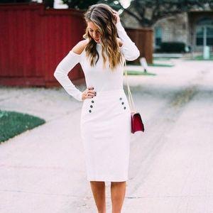 White button detail pencil skirt